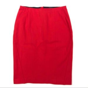 Ann Taylor Red Ponte Pencil Skirt